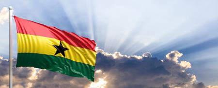 Ghana waving flag on blue sky. 3d illustration
