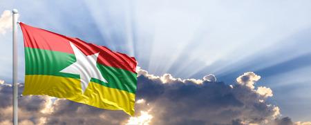Myanmar waving flag on blue sky. 3d illustration