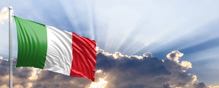 Italy waving flag on blue sky. 3d illustration