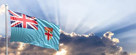 Fiji waving flag on blue sky. 3d illustration Stock Photo