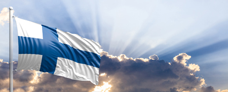Finland waving flag on blue sky. 3d illustration Stock Photo