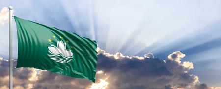 Macau waving flag on blue sky. 3d illustration Stock Photo