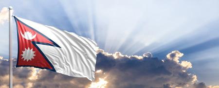 Nepal waving flag on blue sky. 3d illustration