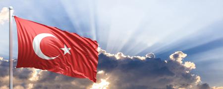 Turkey waving flag on blue sky. 3d illustration Stock Photo