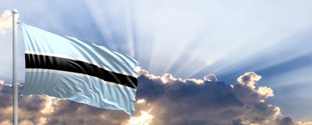 Botswana waving flag on blue sky. 3d illustration Stock Photo