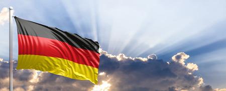 Germany waving flag on blue sky. 3d illustration