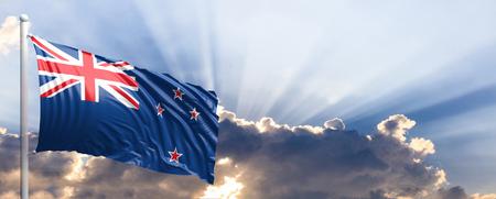 New Zealand waving flag on blue sky. 3d illustration Stock Photo