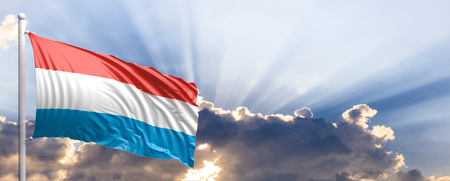 Luxembourg waving flag on blue sky. 3d illustration Stock Photo