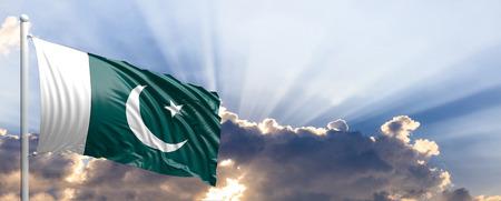 Pakistan waving flag on blue sky. 3d illustration Stock Photo