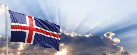 Iceland waving flag on blue sky. 3d illustration