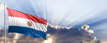 Paraguay waving flag on blue sky. 3d illustration Stock Photo
