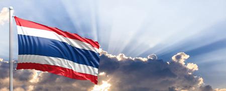 Thailand waving flag on blue sky. 3d illustration