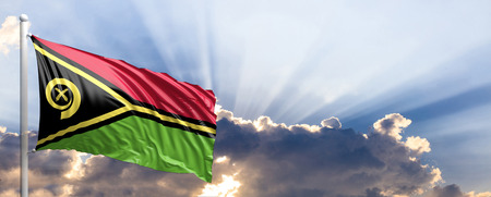 Vanuatu waving flag on blue sky. 3d illustration