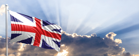 United Kingdom waving flag on blue sky. 3d illustration