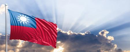 Taiwan waving flag on blue sky. 3d illustration