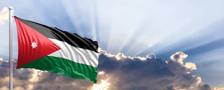 Jordan waving flag on blue sky. 3d illustration
