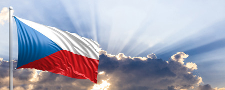 Czech Republic waving flag on blue sky. 3d illustration
