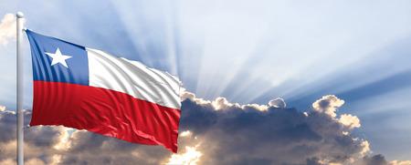 Chile ondeando la bandera en el cielo azul. Ilustración 3d Foto de archivo