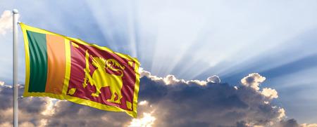 Sri Lanka waving flag on blue sky. 3d illustration