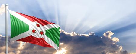 Burundi waving flag on blue sky. 3d illustration