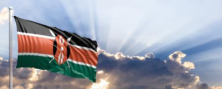 Kenya waving flag on blue sky. 3d illustration