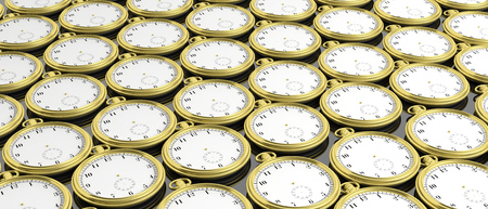 Golden pocket timeless watches background. 3d illustration Stock Photo