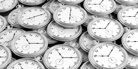 Silver pocket watches background. 3d illustration Stock Photo