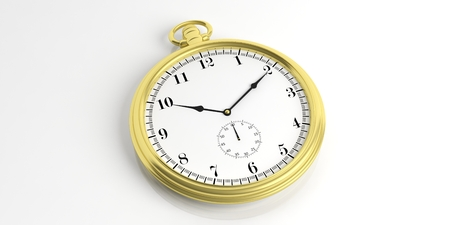 Golden pocket watch isolated on white background. 3d illustration