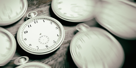 Silver pocket timeless watches background. 3d illustration