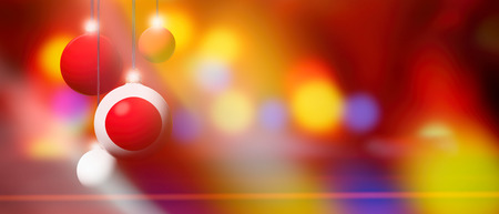 Japan flag on Xmas ball. Christmas background corner design element featuring white bubbles. Blurred and abstract. Stock Photo
