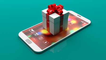 Online shopping concept. White gift box with red ribbon placed on a smartphone, isolated on green background. 3d illustration Stock Photo
