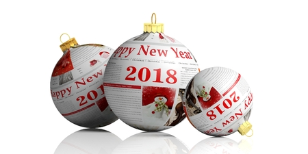Happy new year 2018. Christmas articles on christmas balls isolated on white background. 3d illustration