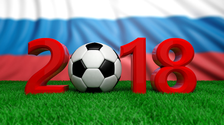 New year 2018 with soccer football ball on grass, Russia flag background. 3d illustration Stock Photo