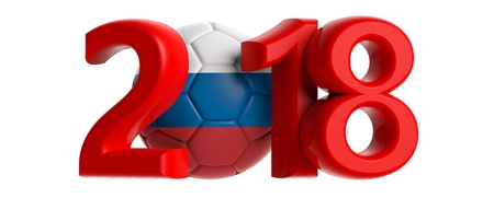 New year 2018 with Russia flag soccer football ball isolated on white background. 3d illustration