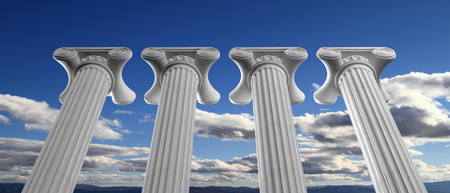 Four marble pillars of democracy or education on blue cloudy sky background, details, under view. 3d illustration
