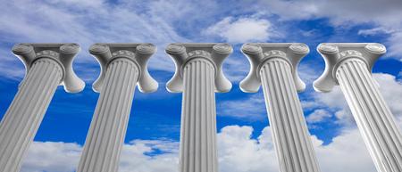 Cinque colonne di marmo di islam o giustizia su sfondo blu cielo nuvoloso, dettagli, sotto vista. Illustrazione 3D Archivio Fotografico - 95060160