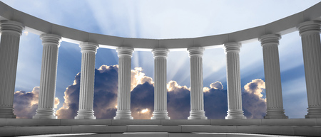 Marble pillars curve on blue cloudy sky background, details, front view. 3d illustration