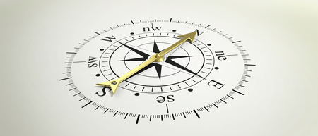 Classic compass with golden arrow pointing at North. 3d illustration Stock Photo