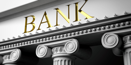 Banks facade detail. Ancient columns of white ornate marble, close up view. 3d illustration Stock Photo