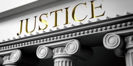 Courthouse. Justice written on a marble pillars building facade, close up view. 3d illustration