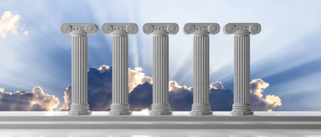 Five marble pillars of islam or justice on blue cloudy sky background, details, front view. 3d illustration Stock Photo