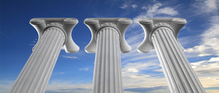 Three marble pillars of sustainability on blue sky background, details, under view. 3d illustration