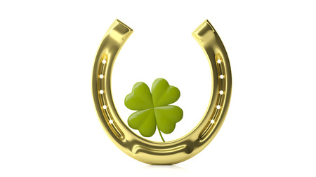 St Patricks concept. Four leaf clover and golden horse shoe isolated on white background. 3d illustration