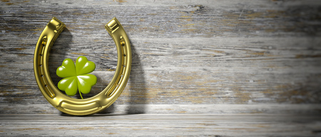 St Patricks concept. Four leaf clover and golden horse shoe on wooden background, banner, space for text. 3d illustration