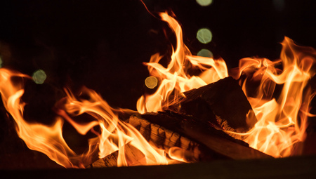 Fire in fireplace with firewood and colorful flames on black background. Close up with details, space.