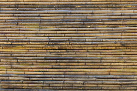 Bamboo background with horizontal lines. Brown sticks of the tropical plant, old, blank surface, close up view.