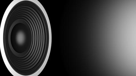 Music concept. Black sound speaker on black background, copy space. 3d illustration