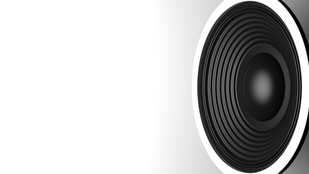 Music concept. Black sound speaker on white background, copy space. 3d illustration