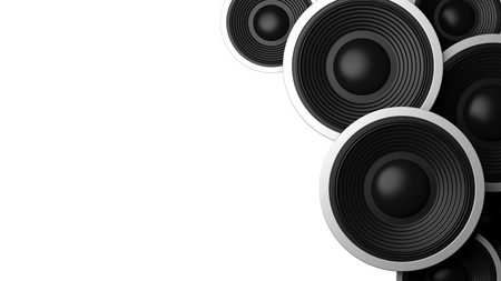 Music concept. Multiple various size black sound speakers on white background, copy space. 3d illustration Stock Photo