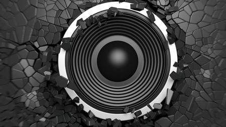Music concept. Black sound speaker on black cracked wall background. 3d illustration Stock Photo